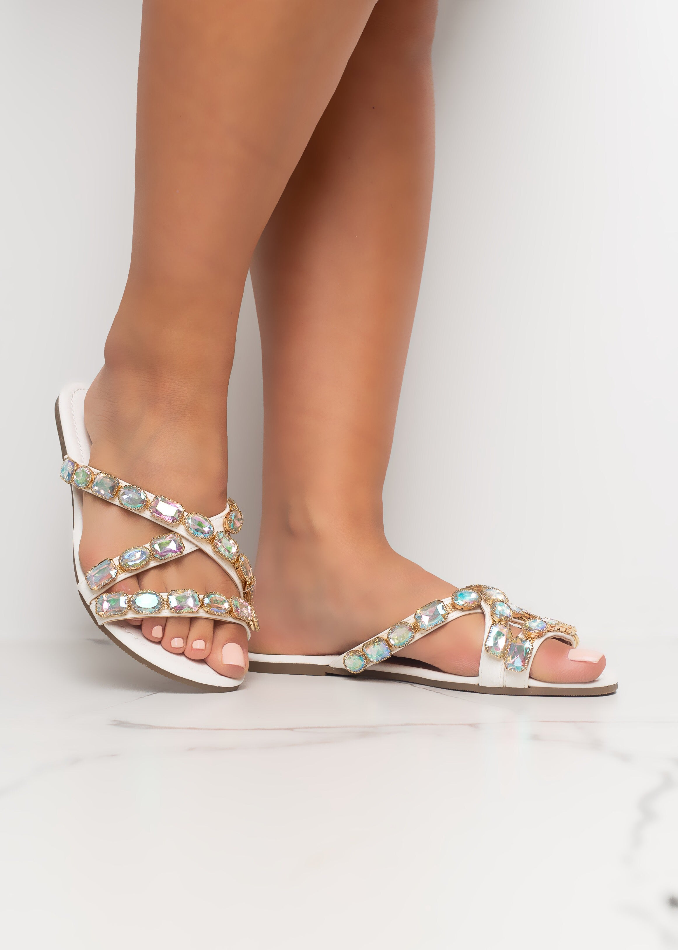 You're A Gem White Sandals