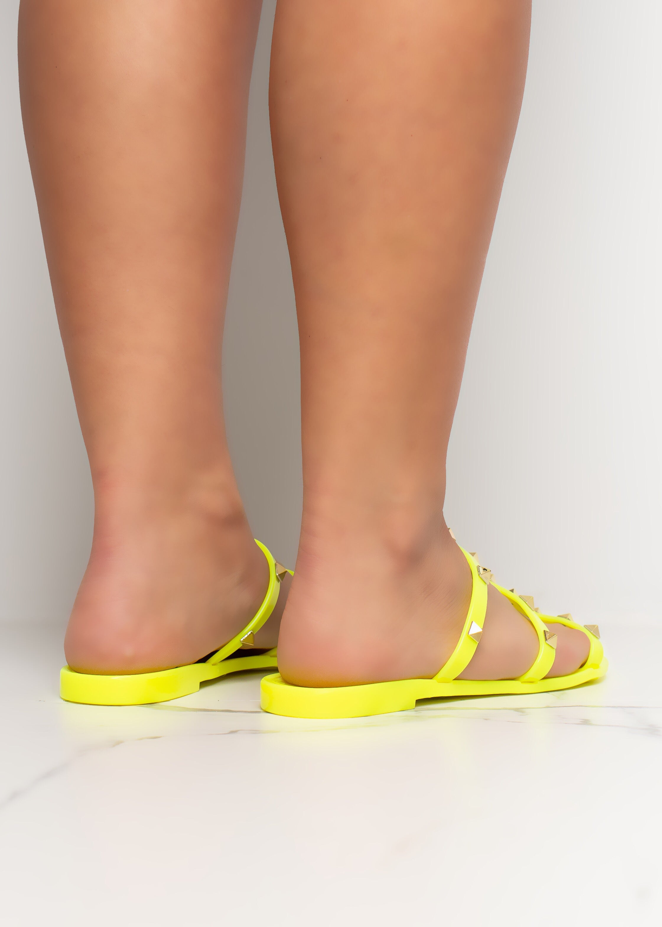 Caught In The Middle Neon Yellow Sandals
