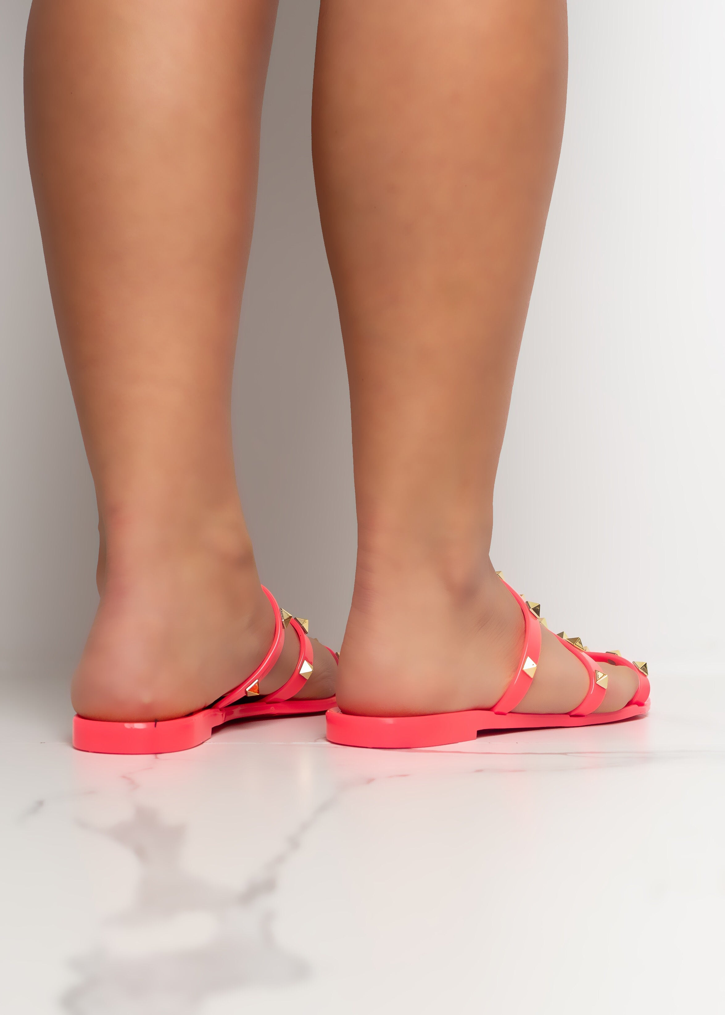 Caught In The Middle Neon Fuchsia Sandals