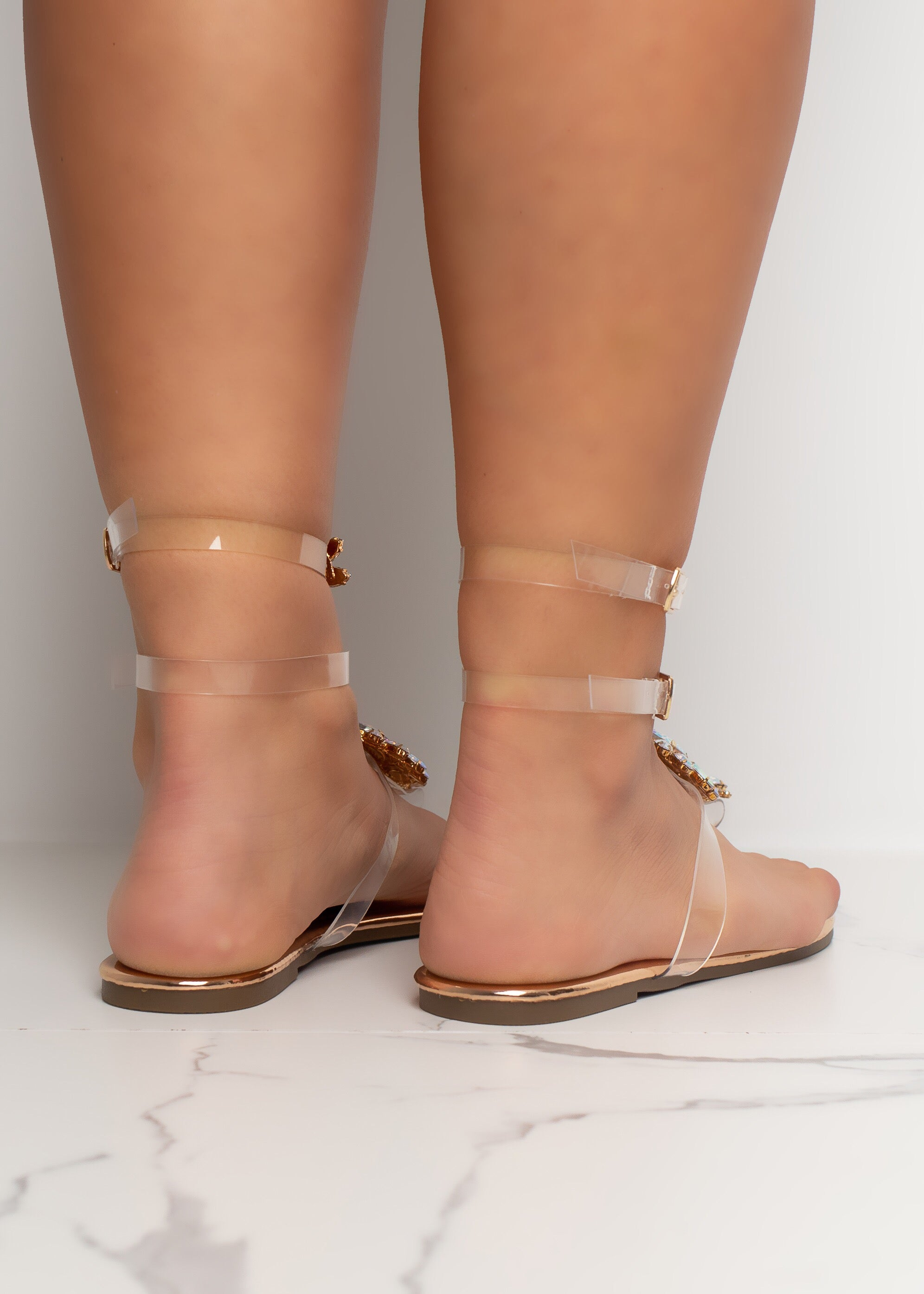 St. Tropez Rose Gold Crystal Sandal