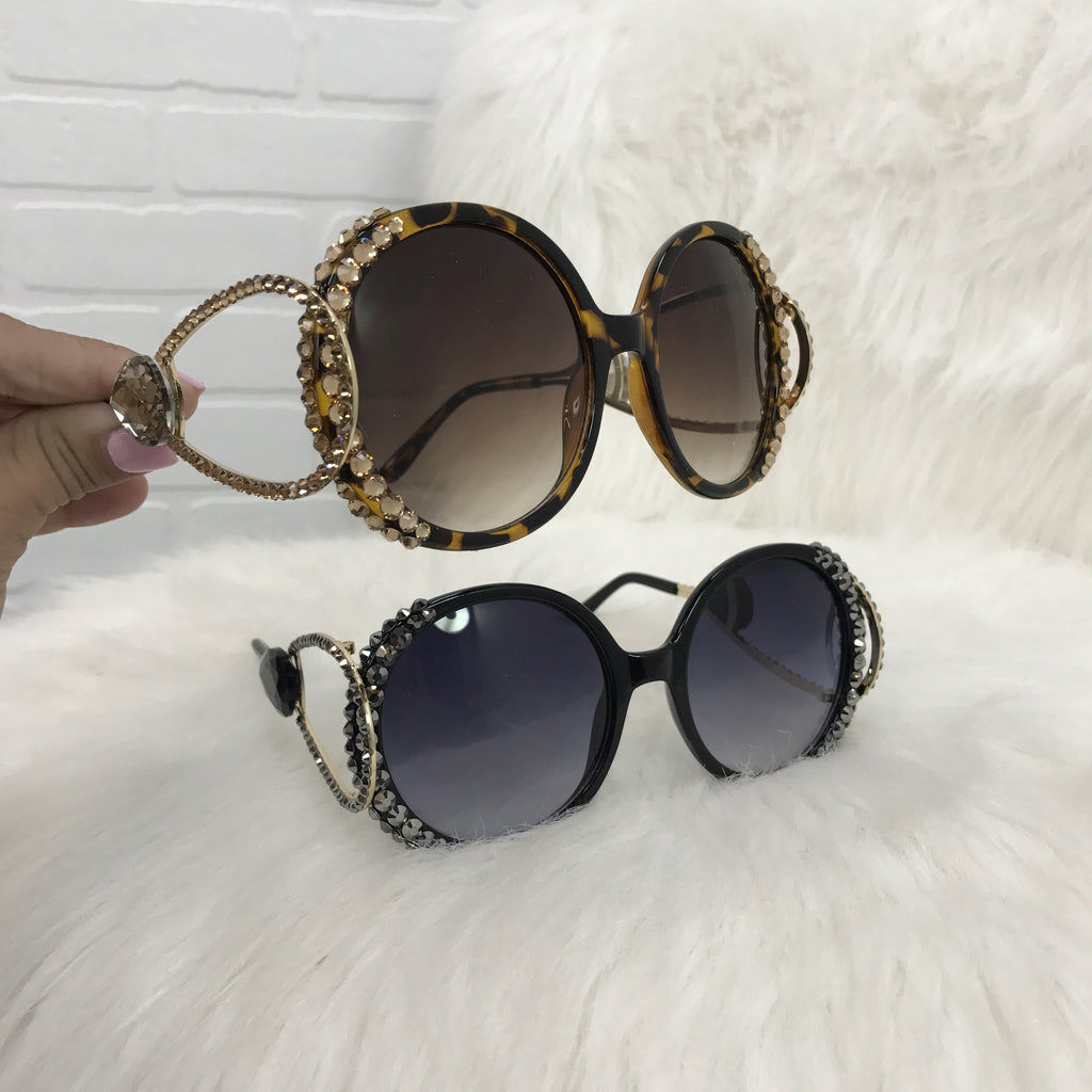 Diamond Detail Round Sunglasses