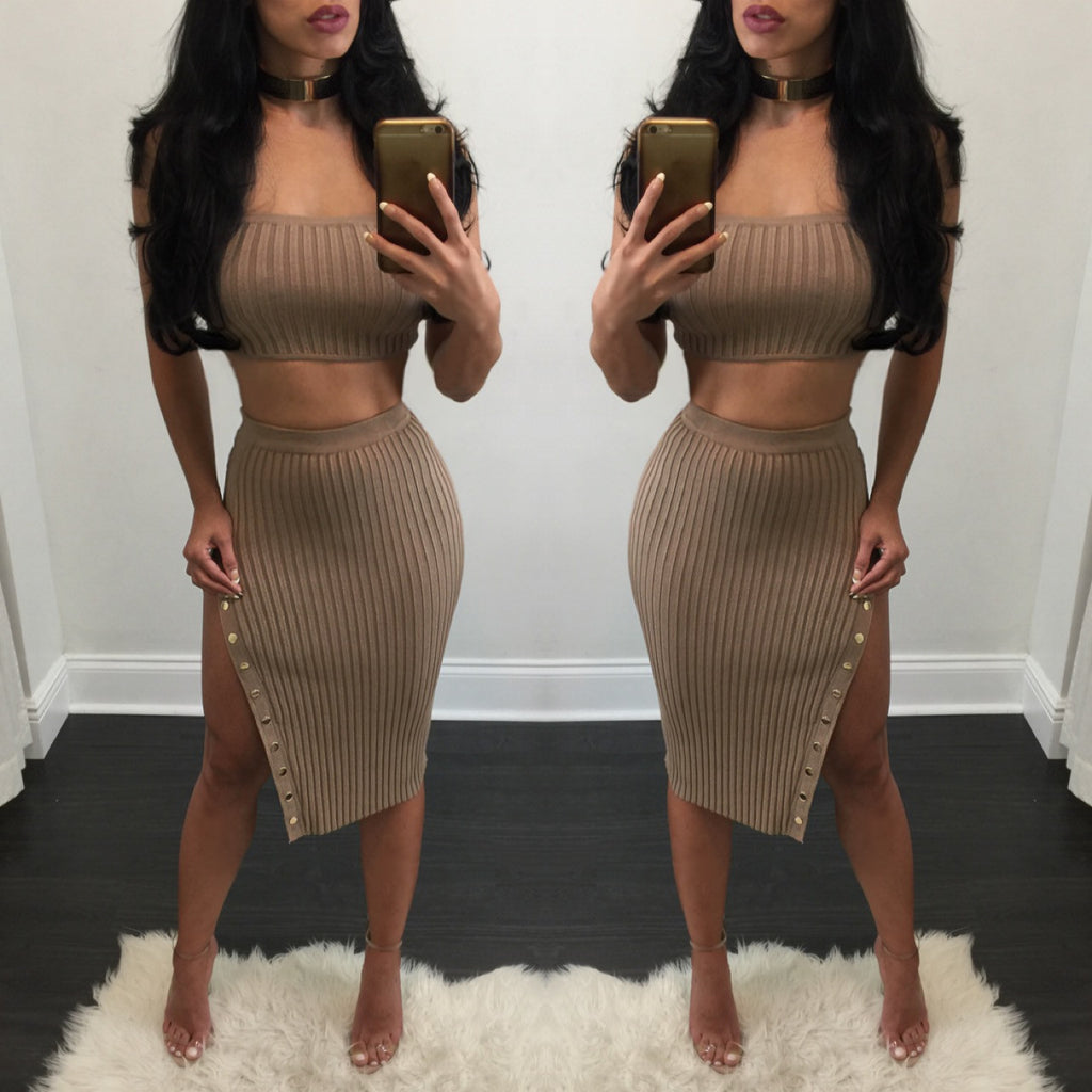 Charlotte Ribbed Skirt Set - Diva Boutique Online - 1