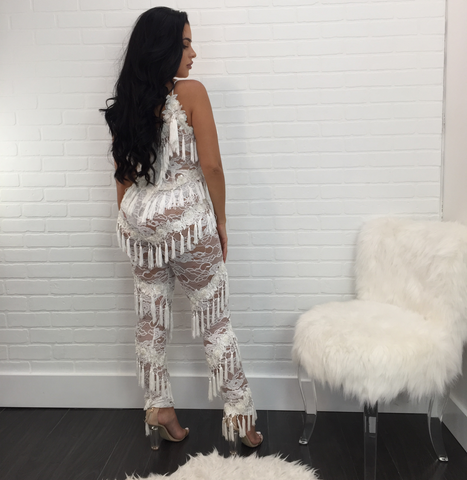 Katherine White Fringe Lace Beaded Jumpsuit