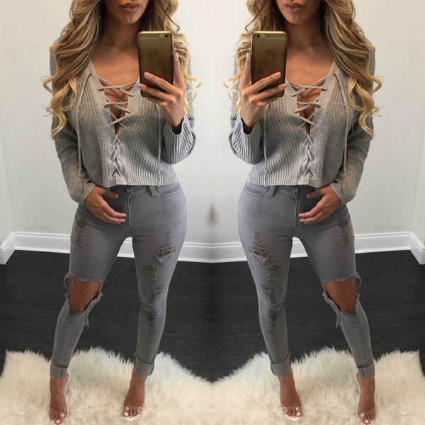 Grey High Waisted Distressed Jeans - Diva Boutique Online - 1