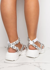 Diamonds On Fleek White Chunky Sandals