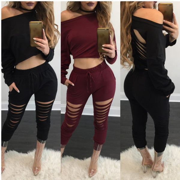 Marie Distressed Jogger Set - Diva Boutique Online