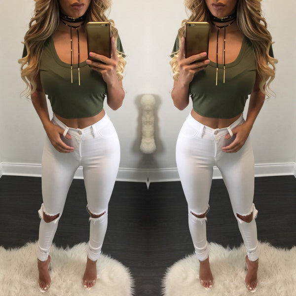 White Ripped Knee Jeans - Diva Boutique Online