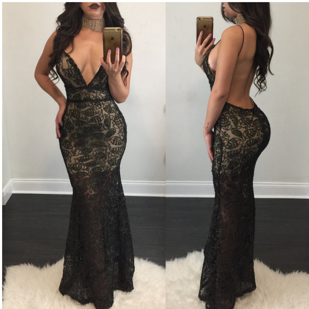 Stella Lace Open Back Gown - Diva Boutique Online