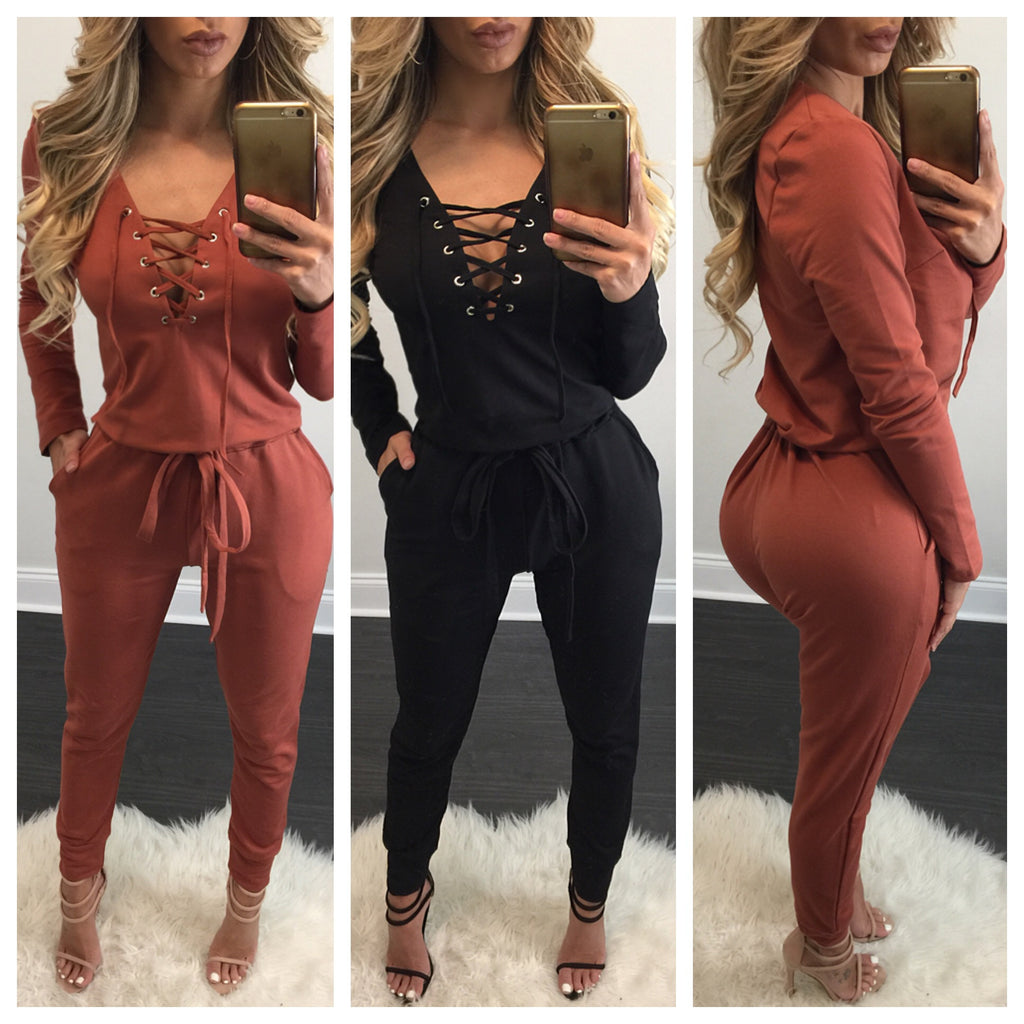 Marina Lace Up Jogger Jumpsuit - Diva Boutique Online