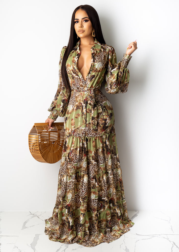 Wilderness Leopard Print Maxi Dress