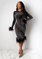 Main Event Feather Midi Dress