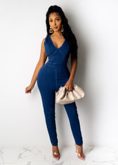 Walk That Way Denim Jumpsuit