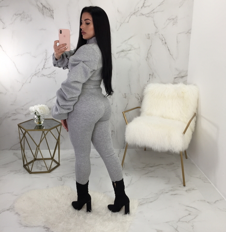 Lauren Grey Puff Sleeve Pant Set