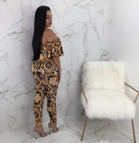 Kara Off the Shoulder Ruffle Print Jumpsuit