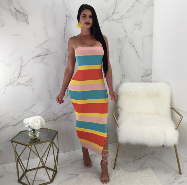 Juliette Multicolor Button Side Midi