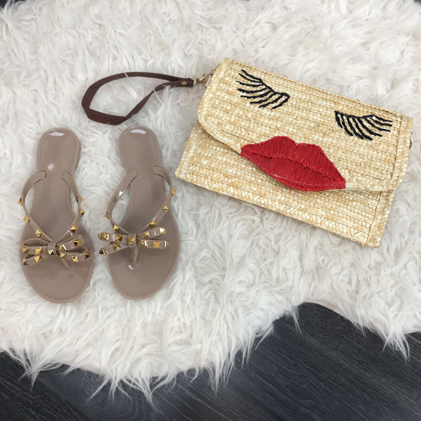 Dark Beige Rock Stud Gummy Sandals