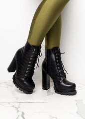 Black Alligator High Heel Boots