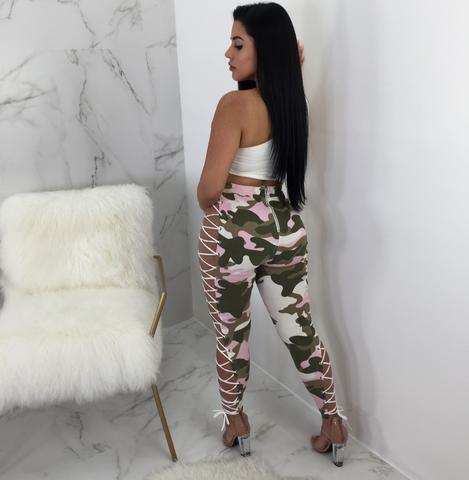 Kendra Pink Camo Lace Up Leggings