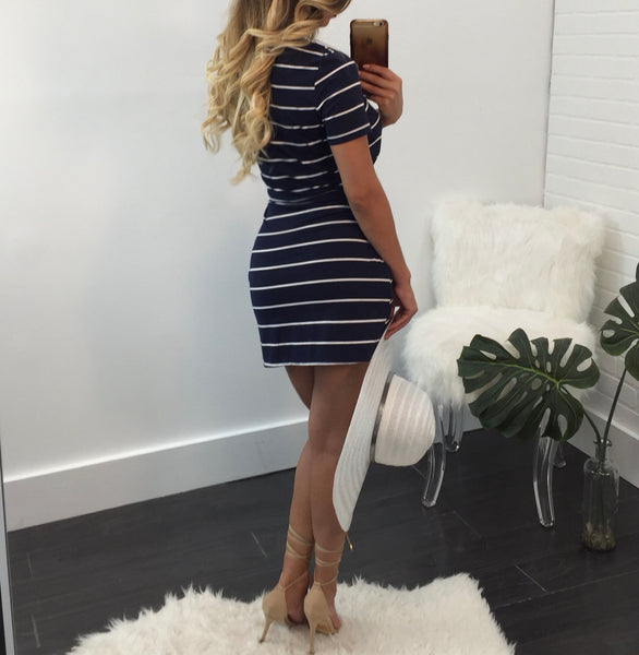 Karla Tie Front Striped Midi