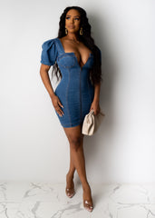 Always At The Top Denim Mini Dress