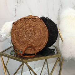 Round Wooden Large HandBag