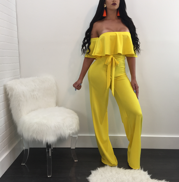 Bree Off the Shoulder Solid Belted Jumpsuit