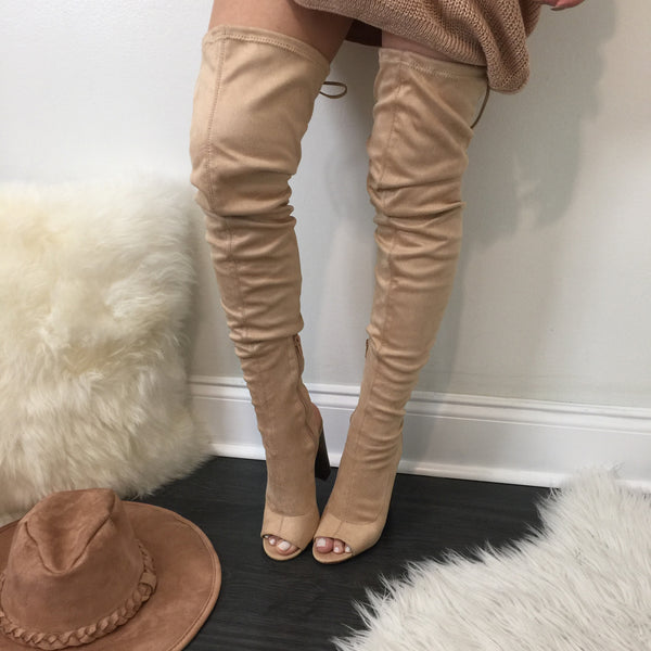 Higher Standards Thigh High Beige Boots - Diva Boutique Online - 1