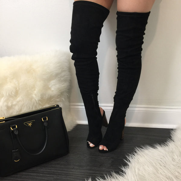 Higher Standards Thigh High Black Boots - Diva Boutique Online - 1