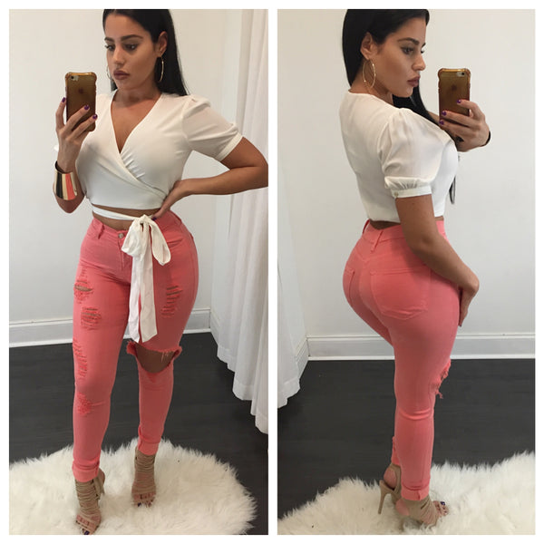 Grace Coral High Waisted Jeans - Diva Boutique Online