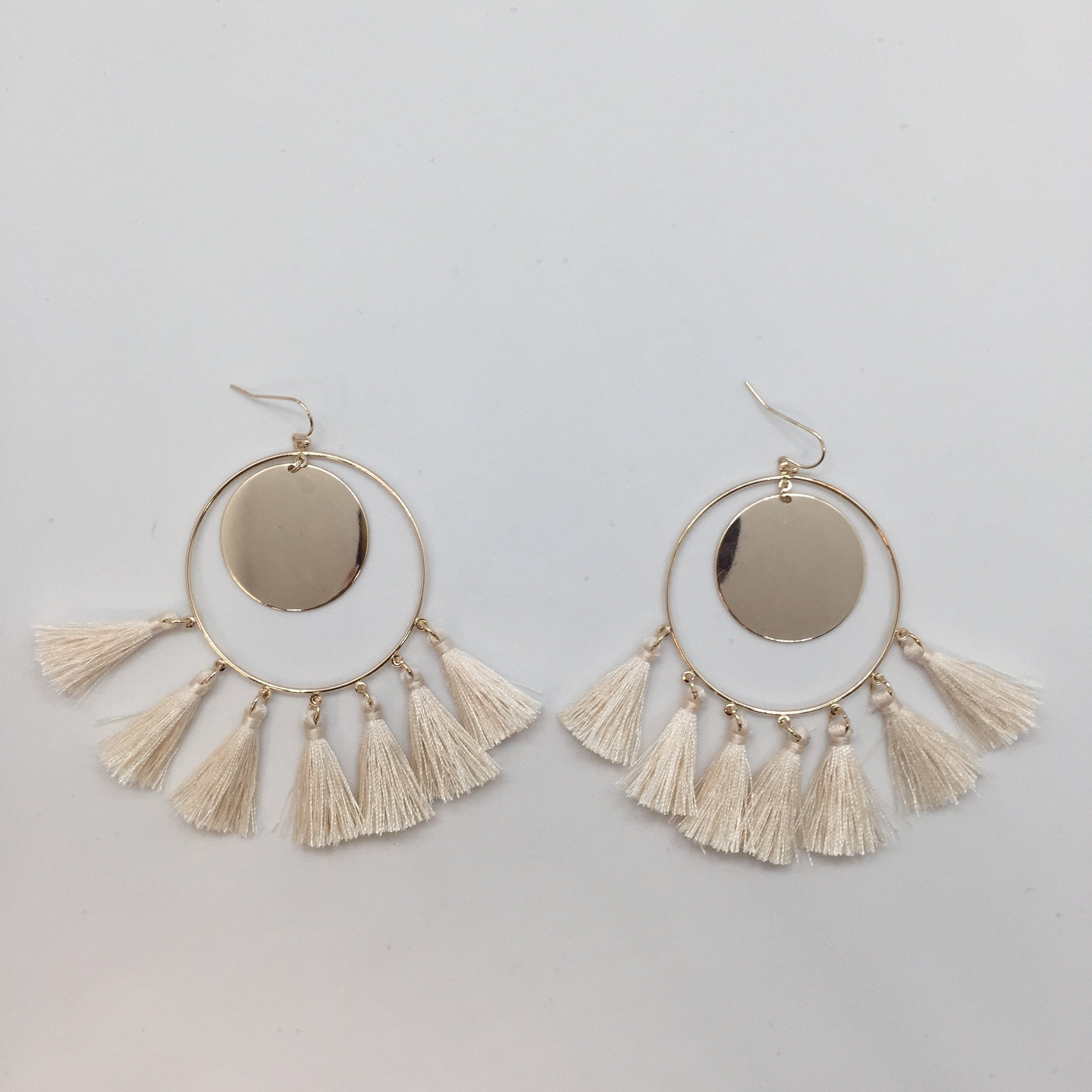 Gia Rose Gold Hoop Fringe Earrings