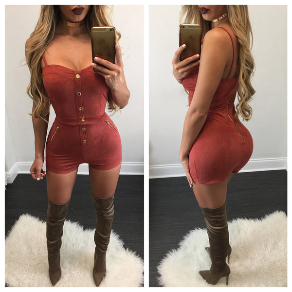 Gina Button Down Suede Romper - Diva Boutique Online