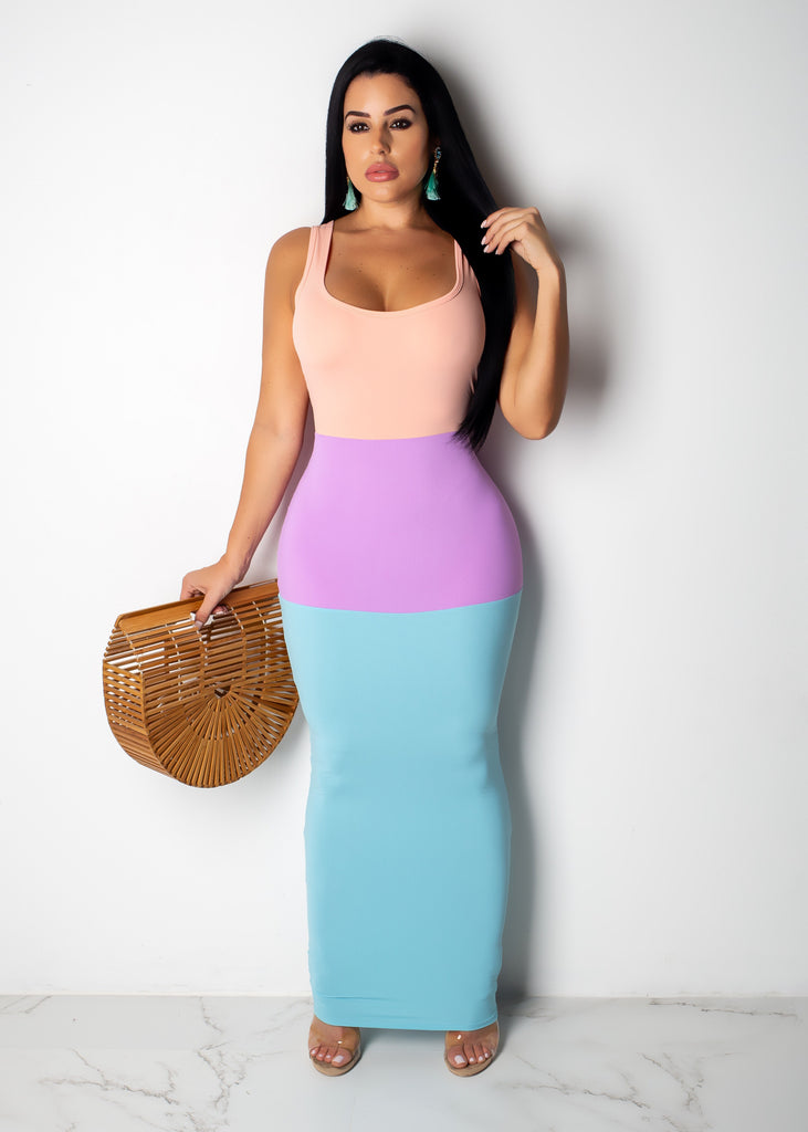 My Go-To Three Color Maxi Dress