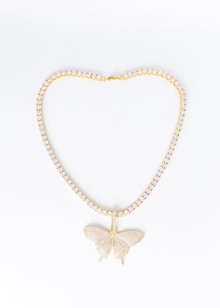 Bling Queen Butterfly Tennis Necklace