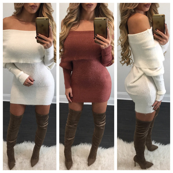 Peyton Knit Sweater Dress - Diva Boutique Online - 1