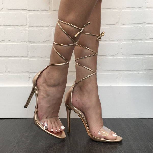 Clearly Laced Up Rose Gold Heel