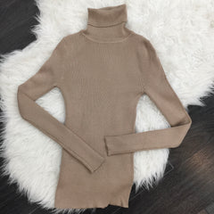 Elena Ribbed Turtleneck Top