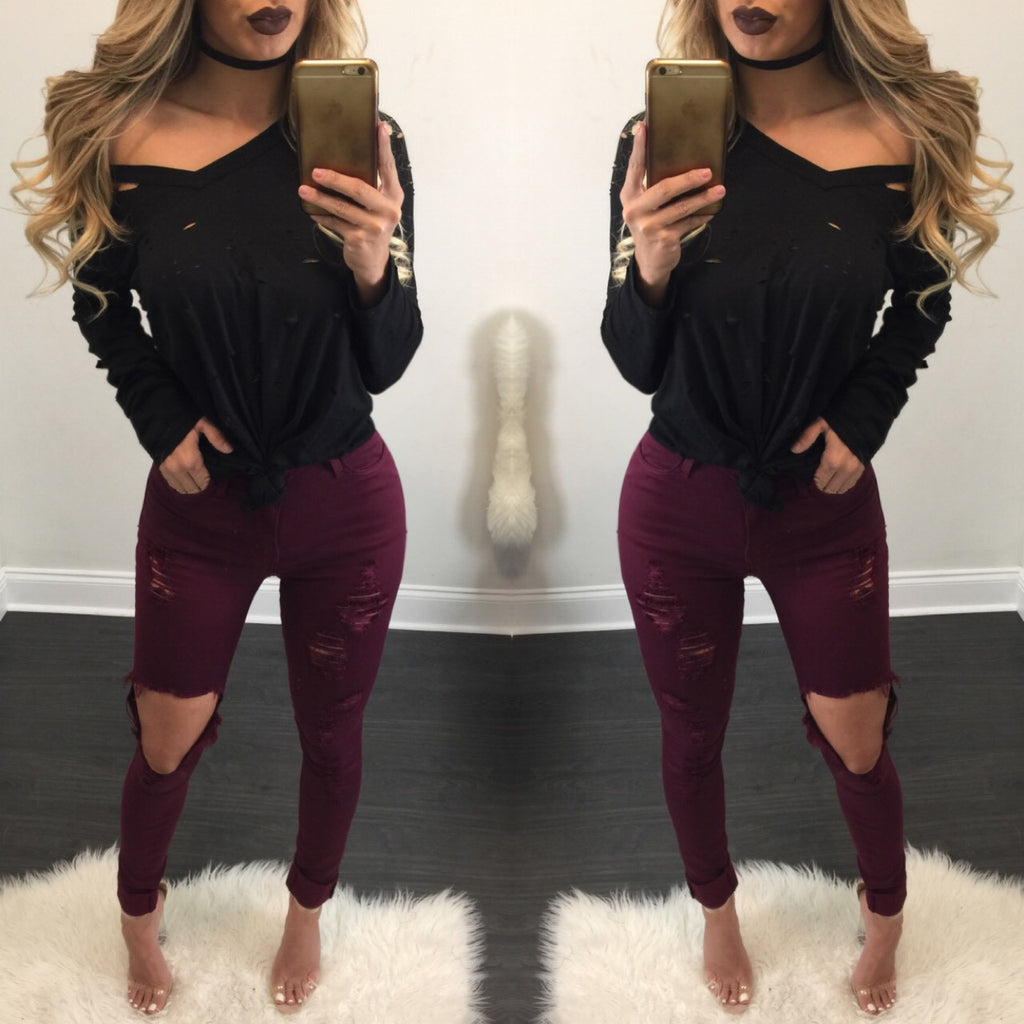 Nicole Burgundy Distressed High Waisted Jeans - Diva Boutique Online - 1