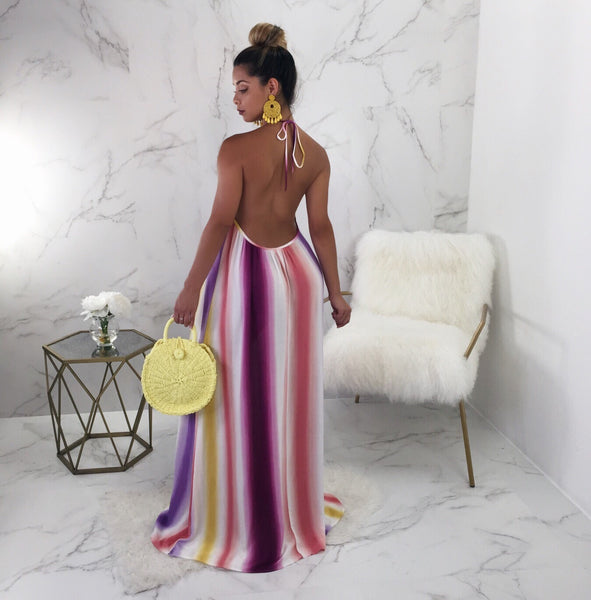 Molly Colorful Open Back Maxi