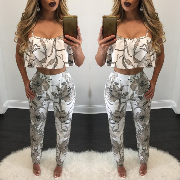 April Ruffle Top Pant Set - Diva Boutique Online - 1
