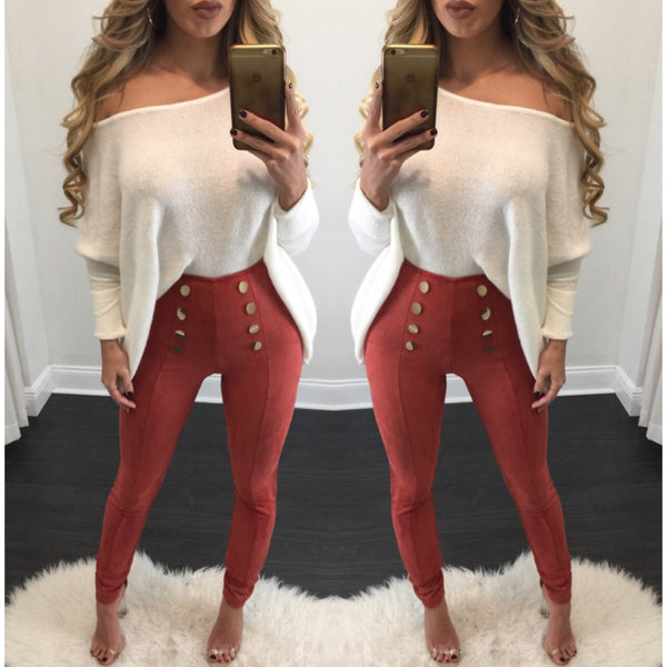 Camilla Button High Waisted Suede Leggings - Diva Boutique Online - 1