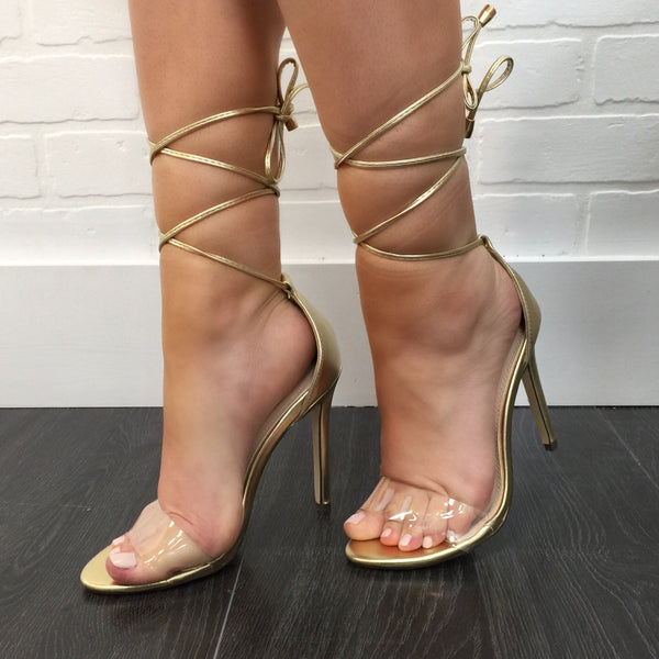 Clearly Laced Up Gold Heel