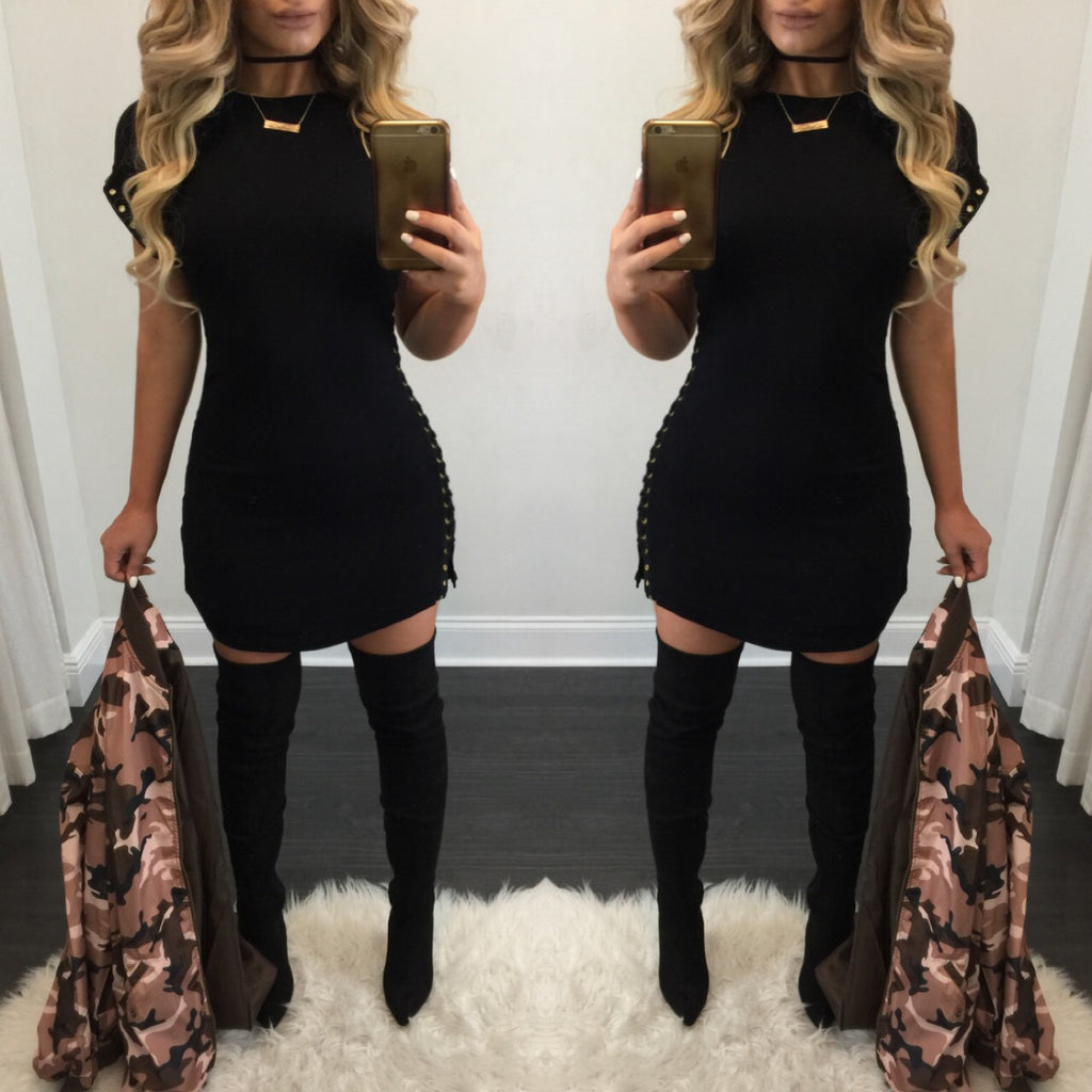 Silvia Side Lace Up Detail Tee Dress - Diva Boutique Online - 1
