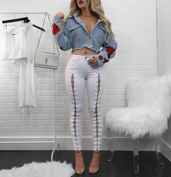 Daya White Lace Up Jeans