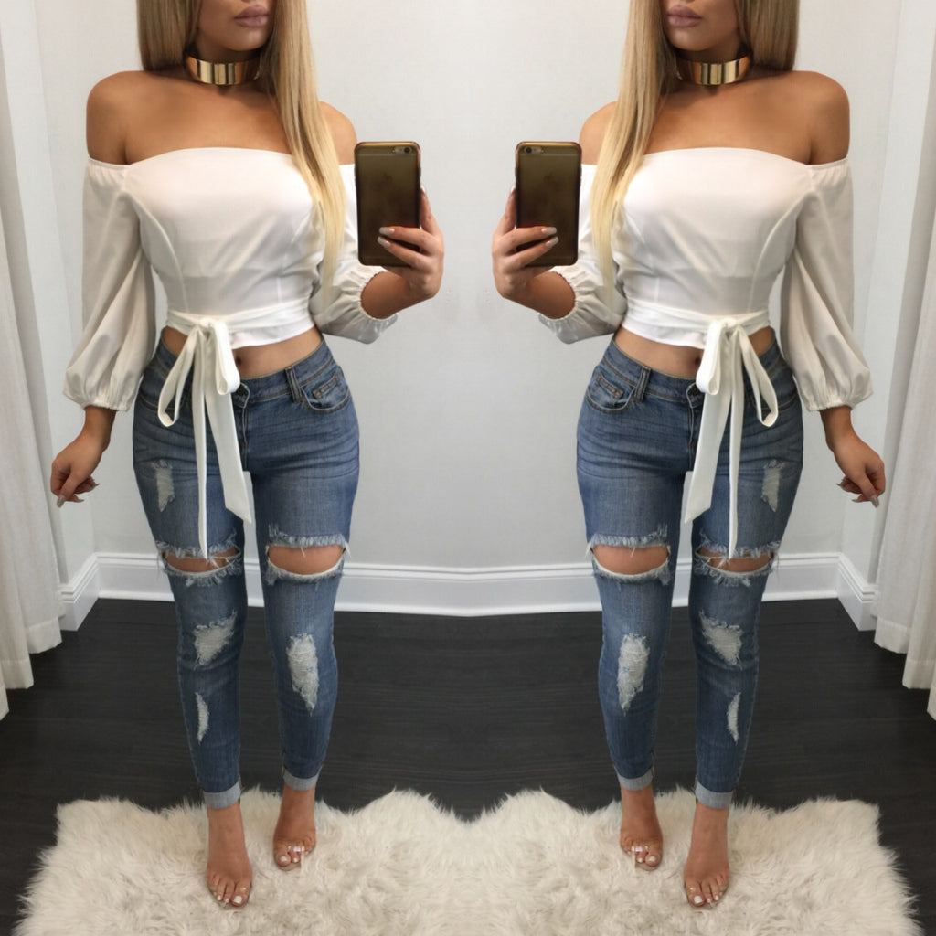 Tami Low Rise Distressed Jeans - Diva Boutique Online - 1