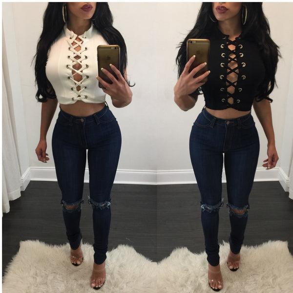 Holly High Waisted Knee Ripped Jeans - Diva Boutique Online - 1