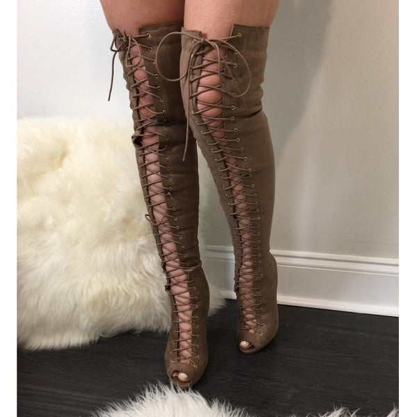 All Tied Up Taupe Boots - Diva Boutique Online - 1