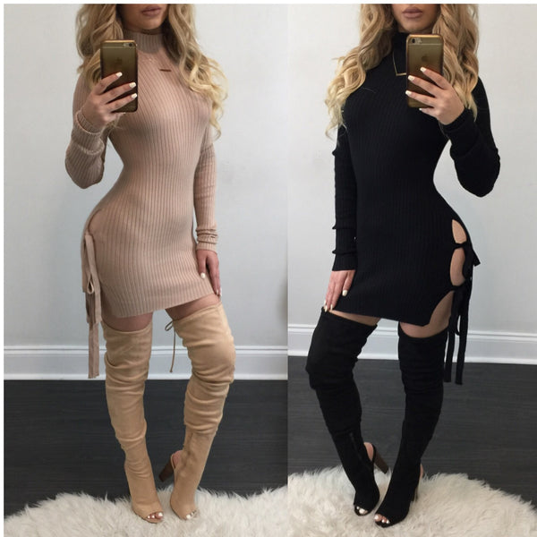Lydia Turtleneck Open Side Mini Dress - Diva Boutique Online