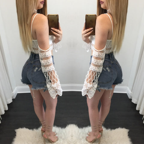 Kendra High Waisted Distressed Jean Shorts - Diva Boutique Online - 2