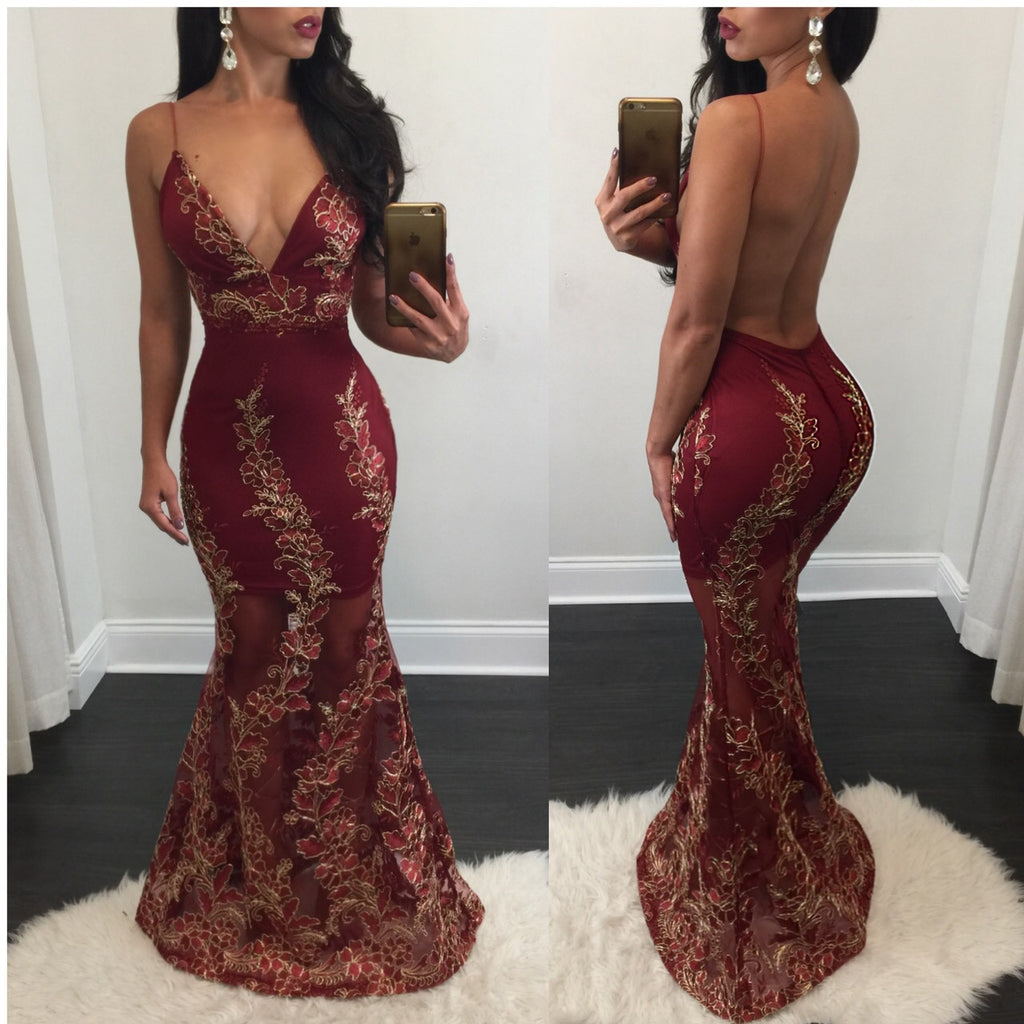 Janis Red & Gold Open Back Gown - Diva Boutique Online