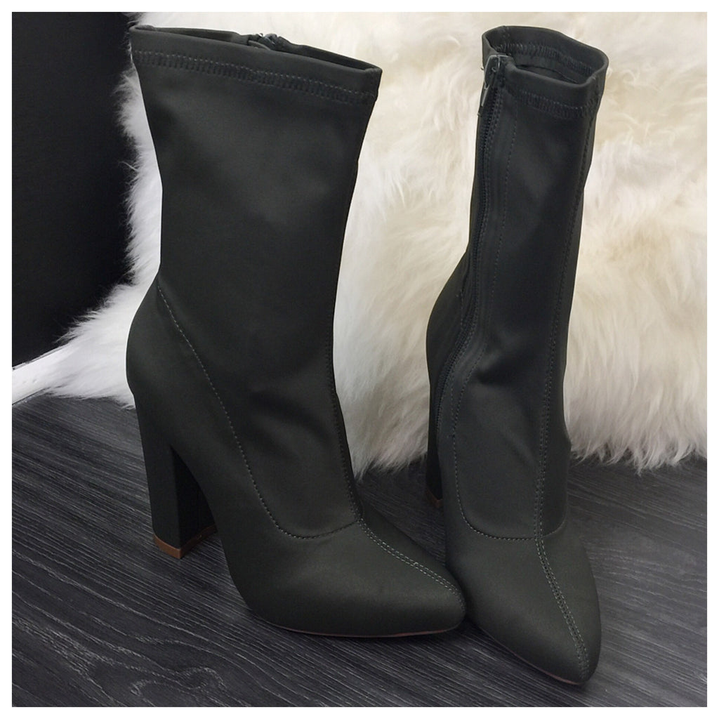 Ye-ezy Inspired Olive Plain Ankle Boots - Diva Boutique Online